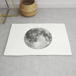 Full Moon phase print black-white monochrome new lunar eclipse poster home bedroom wall decor Rug