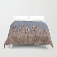 furry Duvet Covers featuring Furry Cattails by DanByTheSea