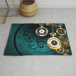 Clock with Gears on Green Background ( Steampunk ) Rug