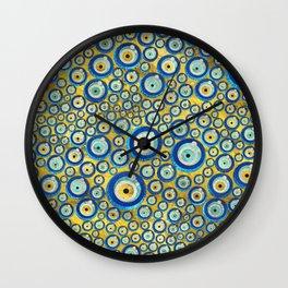 Greek Blue Glass Evil Eye Amulet Pattern Wall Clock