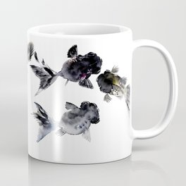 Black Moor, Feng Shui Koi Fish Art, Three Fish black fish decor Coffee Mug