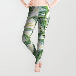 Leaves + Lines in Gold, Green and White Leggings