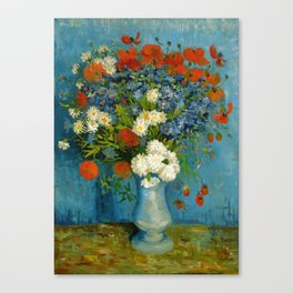 Vincent Van Gogh Vase With Cornflowers And Poppies Canvas Print