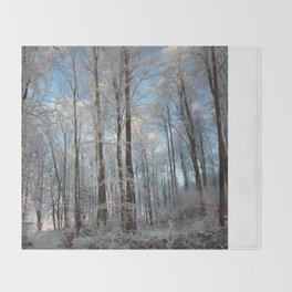 Snowy winter forest Throw Blanket