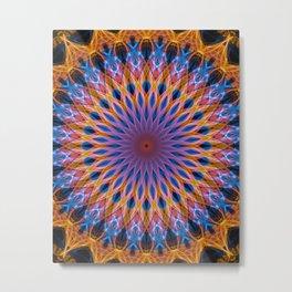 Mandala in glowing orange ad blue tones Metal Print