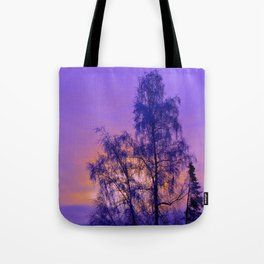 Hoarfrost Tree Sunset Tote Bag