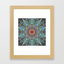 Mandala Lace, Bohemian Indian Flower Pattern, Rainbow, Navy Blue, Teal, Gold, Purple Framed Art Print