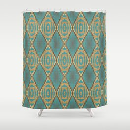 Teal Turquoise Khaki Brown Rustic Mosaic Pattern Shower Curtain