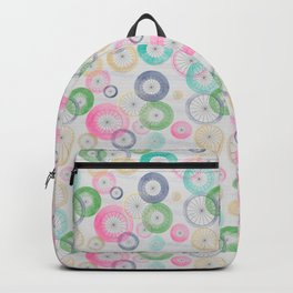Watercolor Wheels on Gray Backpack
