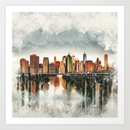 New York City Manhattan Skyline- mixed media Art Print