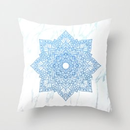 Blue flower mandala - marble Throw Pillow