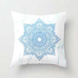 Blue flower mandala - marble Throw Pillow