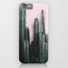 Cactus on Pink Background iPhone Case