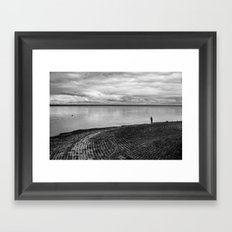 The fishing shadow Framed Art Print