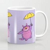 cheshire Mugs featuring Cheshire Totoro by sirwatson