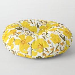 Yellow roaming wildflowers Floor Pillow
