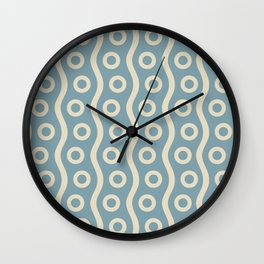 Mid Century Modern Rising Bubbles Pattern 2 Blue and Cream Wall Clock