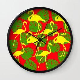 Flamingos and Monstera Pattern D Wall Clock