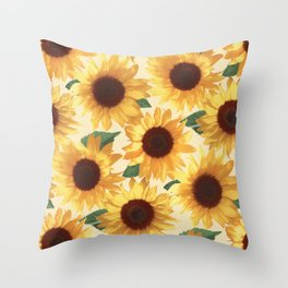 Happy Yellow Sunflowers Throw Pillow