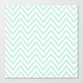 Chevron ZigZag Herringbone pattern - Mint light green I #Society6 Canvas Print
