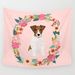 jack russell terrier floral wreath dog breed pet portrait pure breed dog lovers Wall Tapestry