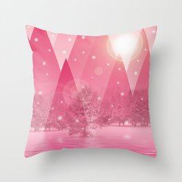 Magic winter pink Throw Pillow