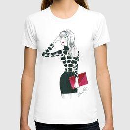 Giraffe Print Fashion Model Watercolor T-shirt