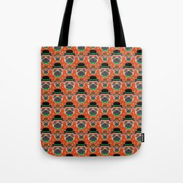 Hipster Pug Pattern Tote Bag