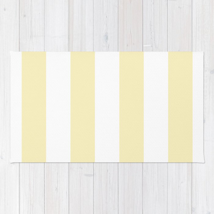 Vertical Stripes - White and Blond Yellow Rug
