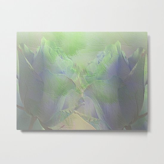 Painterly Mint Green and Lavender Roses Abstract Metal Print