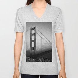 Golden Gate Bridge | Black and White San Francisco Landmark Photography Shot From Marin Headlands Unisex V-Neck