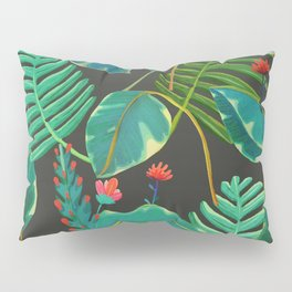 dark tropical red flowers Pillow Sham