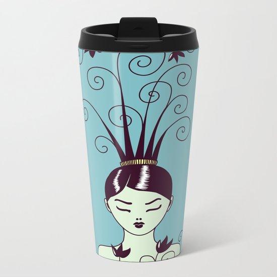 Strange Hair And Flowery Swirls Metal Travel Mug