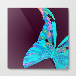 Turquoise Butterfly On A Dark Background #decor #buyart #society6 Metal Print