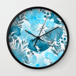Watercolour background with variety of flowers VII Wall Clock