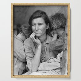 Migrant Mother by Dorothea Lange - The Great Depression Photo Serving Tray