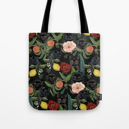 Botanical and Black Cats Tote Bag