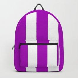Heliotrope magenta violet - solid color - white vertical lines pattern Backpack