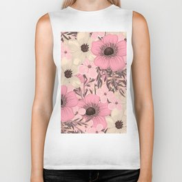 Hand drawn floral background Biker Tank