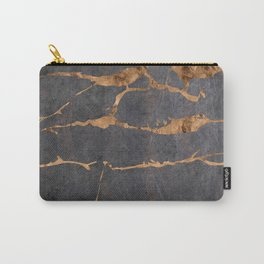 Scratched Suede and Gold Cracks Abstract Carry-All Pouch