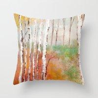 birch Throw Pillows featuring Birch  by Indraart
