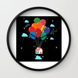 Flying House With Colorful Balloons Motif Wall Clock