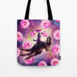 Rave Space Cat On Dinosaur Unicorn - Donut Tote Bag