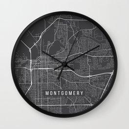 Montgomery Map, Alabama USA - Charcoal Portrait Wall Clock