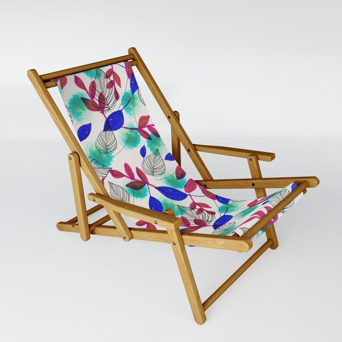 Tropical leaves blue green pink Pattern Sling Chair