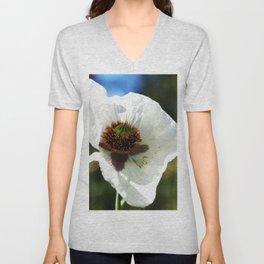 White Poppy in a field Unisex V-Neck
