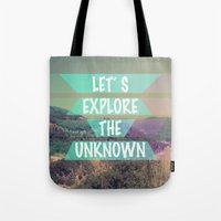 explore Tote Bags featuring EXPLORE by AA Morgenstern