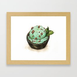 Mint Chocolate Chip Ice Cream Framed Art Print