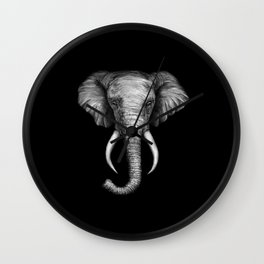 Elephant Head Trophy Wall Clock