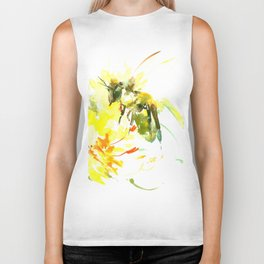 Honey Bee and Yellow Abstrac floral decor Biker Tank